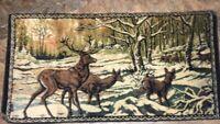 Sale Vintage  STAG DEER ELK SNOW WOODS 19x39 WALL TAPESTRY RUG Velvet MADE ITALY