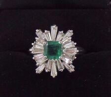 3 ctw Emerald and Diamond Starburst Platinum Ring