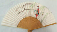 Vintage Japanese Bamboo Paper Fan, Geisha Girl and Japanese Landscape