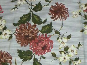 """Vtg Cotton Barkcloth Fabric Gray with Salmon & Brown Flowers 48""""x 1.5 Yds"""