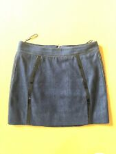 New Dolce & Gabbana Blue Jeans Mini Skirt With Black Leather , IT 38 XS