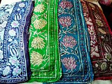 """INDIAN 100% PURE SILK HANDMADE LARGE SQUARE SCARF 26""""x 26"""" 4 COLOURS £9.50 each."""
