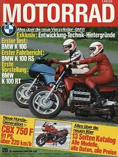 20/83 MOTO 1983 BMW K 100 RT RS HONDA vt500c SWM 506 XN FANTIC 240 XV 500