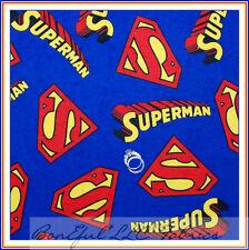 "Boneful Stoff Flanell Superman Logo Superheld Applikation Schrott 20X20"" Baumwolle OOP"