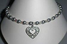 Ankle Bracelet - Stretch Sterling Silver Heart Anklet
