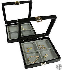 2-4 Compartment Glass Lid Gray Insert Jewelry Display