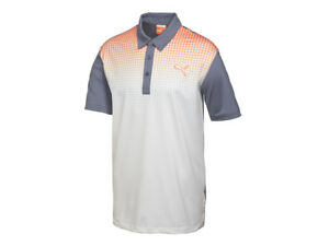 PUMA Golf Jr Collection Children Youth Kids Golf GLITCH Polo Shirt Blue Orange