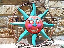 Sun Face Garden Sign, colorful junk iron 0634