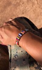 NEW Multi-Flag wooden bracelet. Elastic W/Bright colorful flags.