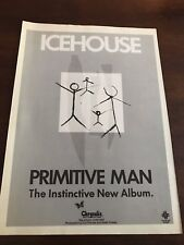"1982 VINTAGE 8X11 PROMO PRINT Ad ICEHOUSE ""PRIMITIVE MAN"" INSTINCTIVE NEW ALBUM"