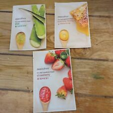 Innisfree Its A Real Squeeze Face Mask Lot Of 3 Honey Aloe & Strawberry NEW