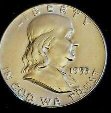 1955 P Mint 90% Silver Franklin Half-Dollar Coin Shown BU GEM Free S/H in Holder
