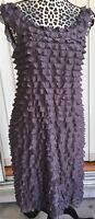 Suzi Chin for Maggy Boutique Ruffled Cocktail Dress Sleeveless Gray Size 8