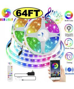 🌟65.6ft LED Strip Light 5050 RGB Music Sync, Bluetooth App, Remote Outdoor IP65