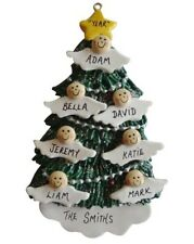Personalized Angel Tree Family of  7 Christmas Ornament