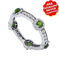Emerald & Diamond Stackable Band Ring 14k White Gold Over Sterling Silver