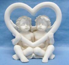 More details for guardian angel figurine cherubs holding heart statue ornament sculpture gift