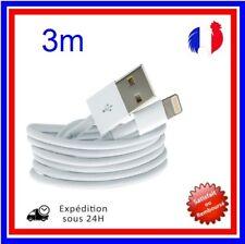 CABLE POUR IPHONE X 8 7 6 5 SE PLUS IPAD CHARGER USB RENFORCÉ BLANC  3M