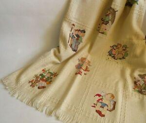 "Vintage 1999 Hummel Throw Blanket w Fringe Ivory Signed TK 47"" x 53"""