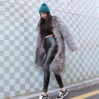 Womens Mid Long Warm Jacket Parka Mongolian Fur Sheep Furry Lamb Coat Stylish
