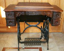 Rare Antique Vtg Globe Special Rotary Treadle Sewing Machine in Original Cabinet