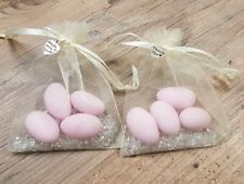 10 x Ready Made Sugar Almond Wedding Favours Baby Shower Gifts in organza bag
