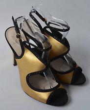 Señoras Jenny Packham no 1 oro satinado y Negro con Cuentas Sandalias Zapatos Talla 6