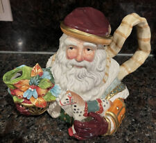 Fitz And Floyd Santa Teapot With Flowering Plant & a Toy Horse
