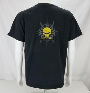 Corvette Racing Skull Print Short Sleeve T-Shirt Black/Yellow Men's Large