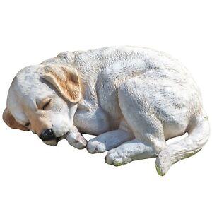 Home Outdoor Garden Decorative Ornament Sleeping Dog Puppy Statue Sculpture
