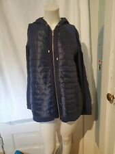 Charter Club Womens Navy Blue Quilted Athleisure Hooded Zip Up Bomber Jacket NWT