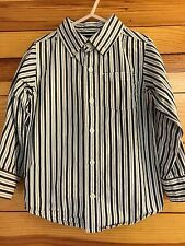 *GYMBOREE* Boys FESTIVE CELEBRATIONS Navy/White/Gray Striped Shirt Size XS 3-4