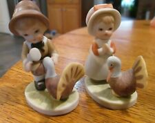 Lefton china Thanksgiving boy and girl pilgrims with turkey 03713 dated 1983