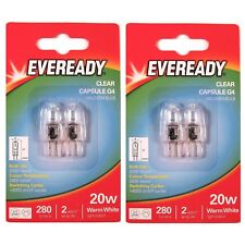 4 x EVEREADY G4 20W Halogen Capsule Bulb CLEAR 280 Lumens 12V Lamp