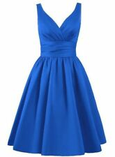 Short Satin Bridesmaid Formal Gown Ball Party Evening Prom Dress Size 6-26
