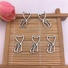 Wholesale 20pcs Tibet Silver Hollow Cat Charm Pendant Beaded Jewelry