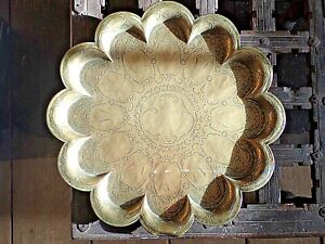 Antique BRASS TRAY INDIAN Scallopped Edge Engraved Gods Heavy 19th C