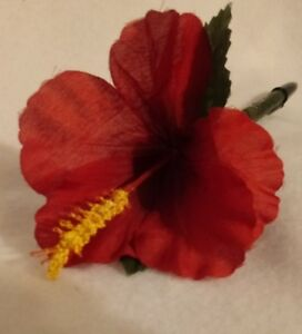 Flower Pen  --  Red Hibiscus -Handcrafted - NEW   With Black ink