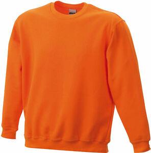Doppelpack Klassisches Herren Komfort Rundhals Sweatshirt Orange JN040