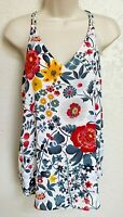 Ann Taylor LOFT Cami Tank Top XS Blouse Sleeveless White Blue Red Floral Lined
