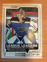 OPC 2018-2019 CARTER HUTTON LEAGUE LEADERS CARD #596 ST.LOUIS BLUES