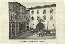 Stampa antica FABRIANO Piazza Vittorio Emanuele Ancona 1891 Old antique print