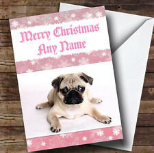 Pug Pink Personalised Christmas Greetings Card