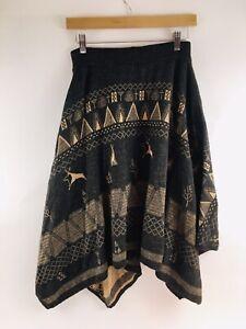 Thursday Island Womens Below Knee Knit Skirt Size Medium, Deer, Tepee Brown Gray