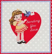 "Retro Valentine Fabric Sending You Love Heart Hey There Cookie 7"" Quilt Block"