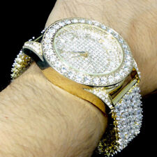 Mens Fully Iced Out Yellow Gold Tone Watch Joe Rodeo Jojo Jojino Custom Band New