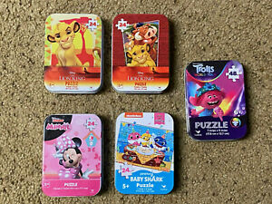 Cardinal Lot of 5 Mini Puzzles With Collectible Tins -Lion King-Trolls-Minnie