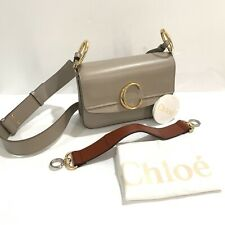 Chloe Small C Double Carry Bag Two Tone Grey Brown Gold Silver Hardware NEW