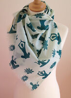 NEW 100% COTTON WOMENS TEAL YOGA AND LOTUS FLOWER PRINT SCARF BY JUNIPER