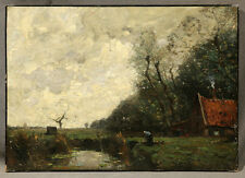 19th Century Barbizon School Signed Oil Painting Landscape in the style of Corot